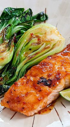 Chili Glazed Salmon Bok Choy - Added carrots in addition to the bok choy. We loved this and Brad wants to try the sauce on other kinds of meat. I did cut the skin off the salmon prior to cooking. Salmon Recipes, Fish Recipes, Seafood Recipes, Asian Recipes, Fish Dishes, Seafood Dishes, Salmon And Bok Choy, Healthy Dinner Recipes, Cooking Recipes