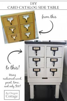 DIY Card Catalog Side Table   Small boxes, Perfect match and Upcycle