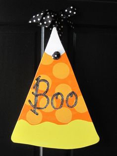 Candy Corn Wooden Door Hanger by JustHangingOn on Etsy, $40.00