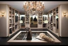 walk in wardrobe. Love the organisation for jewelry