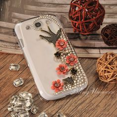 Luxury Hand-Made Bling Case for Samsung Galaxy S3 - Samsung Galaxy S3 case - Two Swallows nature design - Available for Iphone 4S /I phone 5 on Etsy, $14.99