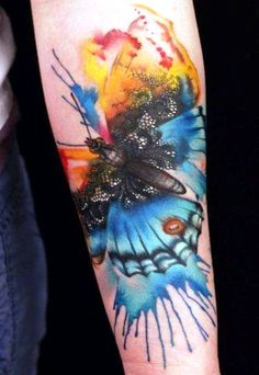watercolor, water, color, butterfly, tattoo, arm