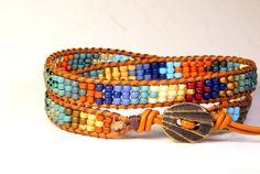 Beaded Leather Wrap Bracelet Two Row Nanticoke by Aerieanna