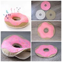 Speldenkussen van vilt Hobbies And Crafts, Fun Crafts, Diy And Crafts, Crafts For Kids, Arts And Crafts, Felt Puppets, Rose Crafts, Donut Birthday Parties, Felt Decorations