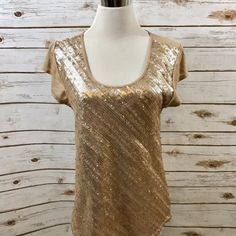 NEW Nine West Sz SMALL Sequin Knit Top Soft Cap Sleeves ROSE GOLD NWT $79 #NineWest #KnitTop #Career