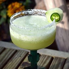 """Jalapeno and Cucumber Margarita I """"About once a year I find a new recipe that is worthy of more than five stars. This one deserves highest honors. If this doesn't make you feel the summertime fun, nothing will."""""""