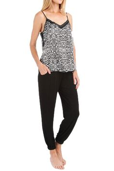 Light spaghetti strap tank with black and white pattern and adjustable straps for the top, with stretchy soft black pants with cinched ankle and drawstring waist. Pair with a cozy robe and slippers for the evenings in.  Kaleidoscope Pj Set by Carole Hochman Midnight. Clothing - Lingerie & Sleepwear - Sleepwear New York