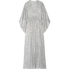 Elizabeth and James Raquel metallic fil coupé silk-blend maxi dress found on Polyvore featuring dresses, gowns, silver, white ball gowns, party gowns, evening maxi dresses, white evening gowns and white kaftan
