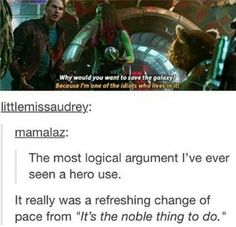 """yeah i mean the whole """"noble thing"""" cliche is getting old"""
