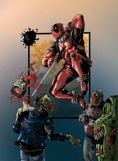 #Deadpool #Fan #Art. (Deadpool vs Zombies colored) By: PatrickSigma. (THE * 5 * STÅR * ÅWARD * OF: * AW YEAH, IT'S MAJOR ÅWESOMENESS!!!™) [THANK U 4 PINNING!!!<·><]<©>ÅÅÅ+