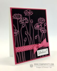 """Pleasant Poppies"" by Mary Fish Simple and pretty. Stampin' Up! Pleasant Poppies stamp set goes the distance as a foundation for quick and crisp cards. Heat embossed in Melon Mambo Stampin' Emboss Powder, the poppies look striking on Basic Black Card Stock."