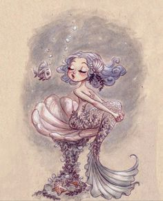 Find images and videos about art, drawing and illustration on We Heart It - the app to get lost in what you love. Real Mermaids, Mermaids And Mermen, Illustrations, Illustration Art, Mermaid Illustration, Mermaid Fairy, Arte Sketchbook, Merfolk, Mythical Creatures