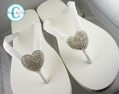 Bridal Flip Flops Heart Rhinestone