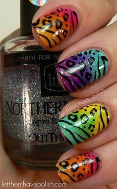 animal print, rainbow, nail art