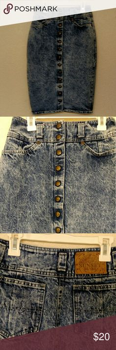 Sunset Blues Vintage Denim Acid Wash Skirt Sunset Blues Vintage Denim Acid Wash Skirt. Button down. Size 7. To small for me: I usually wear a size 6-8 depending on what clothing piece it is. Has pockets on front and back. Sunset Blues  Skirts