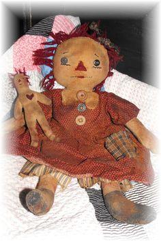 Super Primitive Attic Annie Rag Doll by PrindleMountainPrims, $5.00
