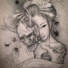 Afbeeldingsresultaat voor geisha taking mask off tattoo Backpiece Tattoo, Hanya Tattoo, Oni Mask Tattoo, Tatuajes Irezumi, Irezumi Tattoos, Forarm Tattoos, Tattoo Drawings, Body Art Tattoos, Sleeve Tattoos