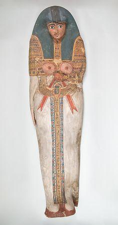 Cartonnage of a Woman, Period: Third Intermediate Period Dynasty: Dynasty 22–24 Date: ca. 945–712 B.C. Geography: From Egypt, Fayum Entrance Area, Meidum (Maidum) Medium: Cartonnage, paint