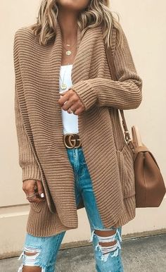 Women's Outfits by Occasions Spring 2019 Damen, Outfits nach Anlässen, Frühling 2019 Cozy Winter Outfits, Spring Outfits, Boho Pullover, Cardigan Casual, Striped Cardigan, Brown Cardigan Outfit, Beige Cardigan, Cardigan Outfits, Sweater Coats