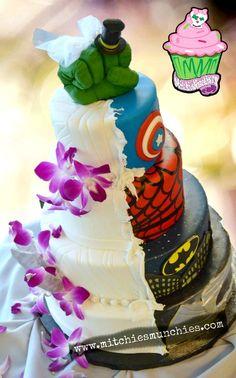 Superheroes' wedding cake disguise