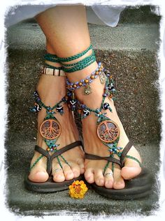 Tribal TREE BAREFOOT SANDALS Forest Fairy artisan sandals Tree hugger foot…