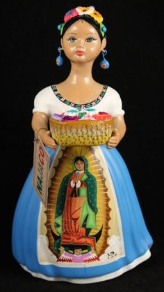 """Lupita"" Doll Flowers Virgin Guadalupe Blue Dress Ceramic Mexican Folk Art"