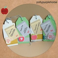 Thank You Teacher Gift Tags   Set of 4 hand by pollypurplehorse, £3.50