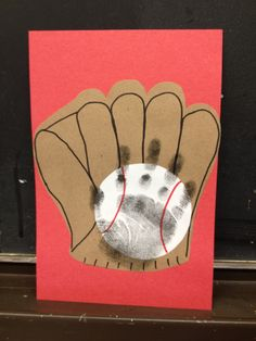 """Baseball & Mitt Hand Print Craft. What a """"catch"""" for Father's Day or for your favorite baseball fan!"""
