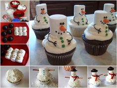How To Make Snow Men Cupcakes cupcakes christmas christmas recipes christmas crafts christmas food snowmen christmas party favors christmas deserts