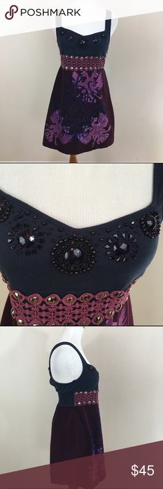 """Free People Purple Velvet Bird Beaded Dress Size 8 Free People Purple Velvet Bird Skirt Studs Lace Beaded Sundress Dress Size 8. Excellent condition! Velvet graphic bottom. Size zipper. Clean and comes from smoke free home. Questions welcomed! Armpit to armpit: 13.5"""" across. Stretches up to 16"""" across (approx.) Waist: 13"""" across. Has some stretch up to 14.5"""" across (approx.) Length: 33"""" Free People Dresses Midi"""