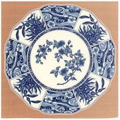 kyoohoo Cotton Furoshiki Small Size Imari Big Dish Beige
