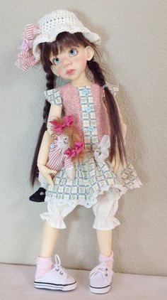Drop waist dress with Wilabee rag dolly~Fits Kaye Wiggs Talyssa /Mei Mei~by DCH