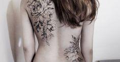 Tattoo Artist: Zihwa. Tags: styles, Blackwork, Illustrative, Nature, Flowers, Flower Bouquet. Body parts: Back.