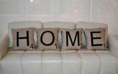 Fun scrabble cushions to create a statement in your house. Scatter Cushions, Interior And Exterior, Bed Pillows, Home And Garden, Cushion Ideas, Scrabble, Image, Google, Diy