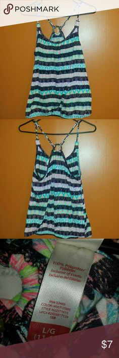 Multi-Colored Sleeveless Shirt Very light and colorful! Perfect for summer! The openness of the back really makes this shirt. No Boundaries Tops Tank Tops