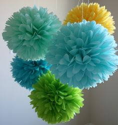 Summer Breeze  5 poms READY TO SHIP by PartyPoms on Etsy, $20.00