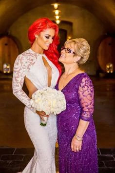 WWE Diva Eva Marie (Natalie Marie Nelson) and her mother during Eva's August 2014 wedding to Jonathan Coyle.