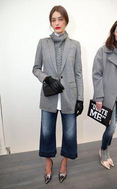 f5d69ec5c2413 Grey longline wool blazer with a very sweater