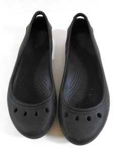 Ladies Size 7 Flat Ballerina Style CROCS Slides Shoes EUC #Crocs #BalletFlats #Casual