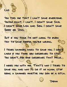 From Dean to Cas. I love this so so much! ♥