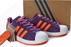 Adidas Grun Superstar II Purple Orange Suede Shoes