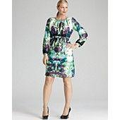 Melissa Masse Plus Three Quarter Sleeve Charmeuse Dress with Cinched Waist