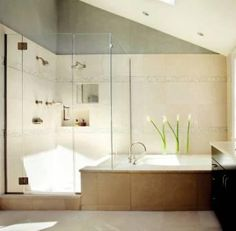 What if we kept the separate shower/tub and added glass walls? And a new tub...