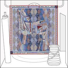 Patchwork Horse silk scarf - 140x140. La Maison des Carrés, the new address for Hermes Silk Carrés