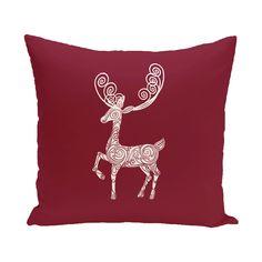 Deer Crossing Decorative Holiday Animal Print Throw Pillow