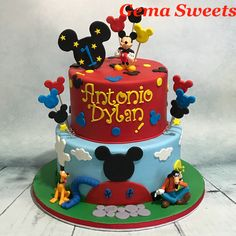 Mickey Mouse Clubhouse inspired cake by Gema Sweets.