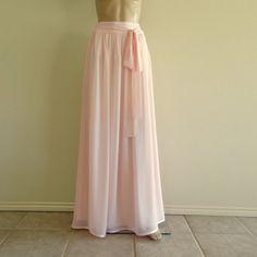 Blush Pink Bridesmaid Skirt. Maxi Skirt. by lynamobley2012 on Etsy