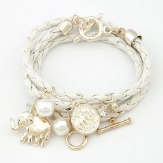Cheap bracelet silver, Buy Quality bracelet cuff bangle directly from China bangle bracelet wholesale Suppliers:  Pearl & Coin & Gold Elephant Pendant Charm Bracelets Bangles Layered Leather Bracelet for Women Pulseiras Femin