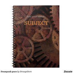 Custom Steampunk Gears Industrial Fashion Spiral Note Books