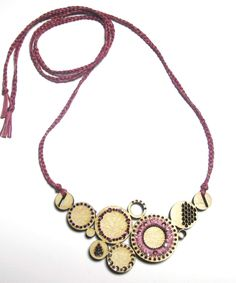 BRIKA.com | Mauve Embroidered Maple Bib Necklace | BRIKA - A Well-Crafted Life